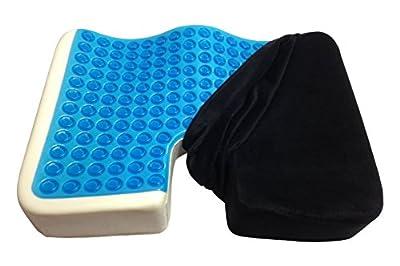 Kieba Coccyx Seat Cushion, Cool Gel Memory Foam Large Orthopedic Tailbone Pillow for Sciatica, Back, and Tailbone Pain