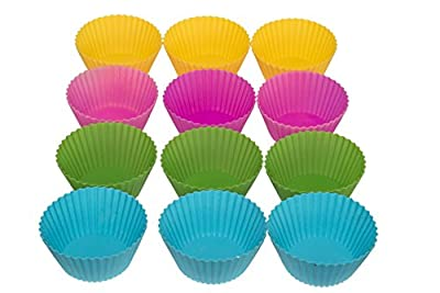Silicone Baking Cups - 12 Colorful Reusable Flexible Cupcake and Muffin Liners - Free Baking Magazine Bonus With Every Purchase.