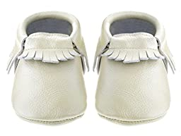 Sayoyo Baby Pearl White Tassels Soft Sole Leather Infant Toddler Prewalker Shoes (6-12 months, Pearl White)