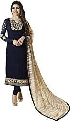 Regalia Ethnic New Collection Navy Blue Embroidered Georgette Semistitched Dress Material With Matching Dupatta