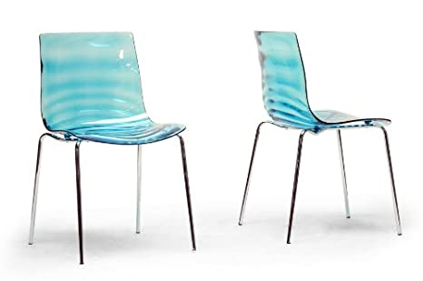 Marisse Blue Plastic Modern Dining Chair with Chanasya Polish Cloth Bundle (Set of Two)