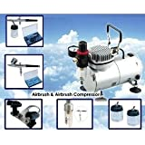 AS18K Complete Airbrush Compressor Kit PLUS Airbrushing Accessories - Airhose, bottles, Airbrush Holder, Dual action Gravity-feed airbrush for nail art, hobby-painting, cake decoration, customised clothing, temporary tattooing