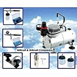 AS18K Complete Airbrush Compressor Kit PLUS Airbrushing Accessories - Airhose, bottles, Airbrush Holder, Dual action Gravity-feed airbrush for nail art, hobby-painting, cake decoration, customised clothing, temporary tattooingby Airbrush Supply Online