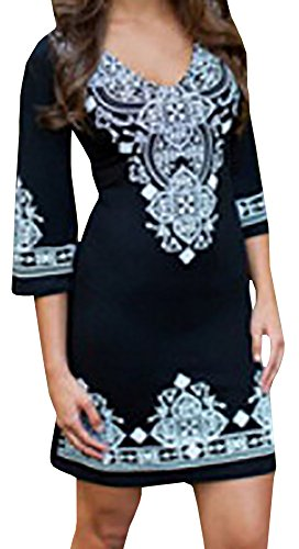 Lovaru Women's V Neck Floral Printed Cuff Detail Bodycon Short Dress