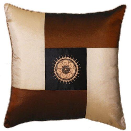 Exp Decorative Handmade Silky Brown And Beige Cushion Cover/Pillow Sham, Golden Sunflower Design