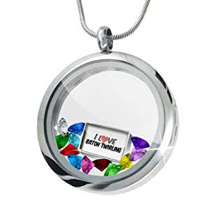 Floating Locket Set I Love Baton twirling + 12 Crystals + Charm