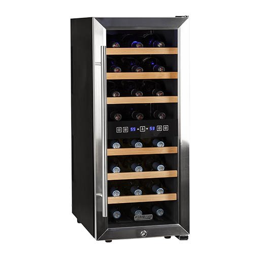 Find Bargain Koldfront 24 Bottle Free Standing Dual Zone Wine Cooler - Black and Stainless Steel