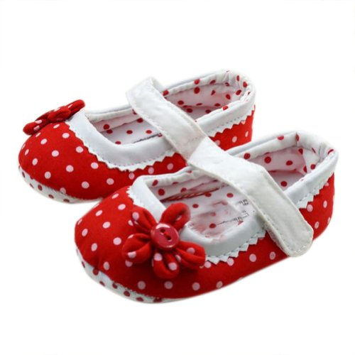 WXBUY Baby Girls Dot flower Soft Bottom Toddler Shoes