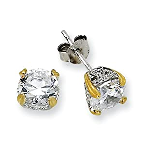 Sterling Silver and Gold-plated 6.5mm CZ Stud Earrings