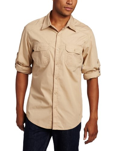 ecko unltd. Men's Long Sleeve Imaginative Woven Shirt, Khaki, X-Large