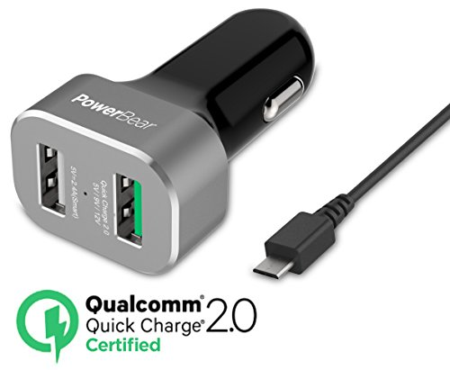 PowerBear Quick Charge 2.0 Dual USB Car Charger / Quick Charge Car Charger with Micro USB Cable LG G5, Samsung Galaxy S7/S6/Edge, Note, Nexus 6, HTC, iPhone | Qualcomm Certified [24 Month Warranty] (Note Llc Phone compare prices)