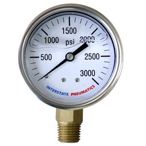 Interstate Pneumatics G7022-2500 2500 PSI 2-1/2 Inch Dial 1/4 Inch NPT Bottom Mount Oil Filled Pressure Gauge