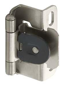 Amerock BP8719G10 Single Demountable Partial Wrap Hinge with 1/2-Inch Overlay, Satin Nickel, 2-Pack
