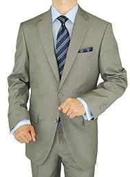 Gino Valentino 2 Piece Men\'s Side Vents Jacket Flat Front Pants 2 Button Light Gray Suit (52 Regular US / 62 Regular EU)