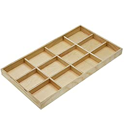 Wooden Low Profile Display Tray, 12 Compartments 14.75 x 8.25 x 1 Inches, 1 Piece, Unfinished