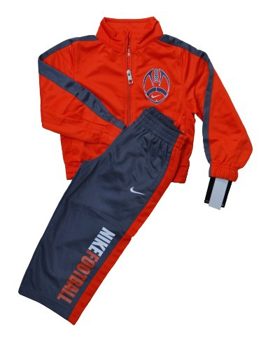 Nike Boys American Football and Swoosh Jogging Suit Orange and Grey