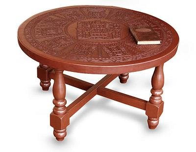 Mohena wood and leather coffee table, 'Andean Heritage'