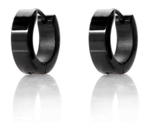 In acciaio inox Karisma Black Line cerchi - orecchini larghezza 4 mm - CREOBS4 - diametro 14 mm