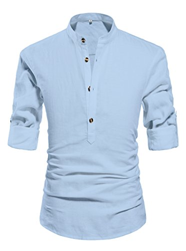 NITAGUT Men Henley Neck Long Sleeve Daily Look Linen Shirts Light Blue-US S (Light Blue Linen Shirt compare prices)