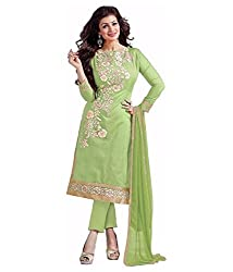 Hirva collections green cotton dress materials