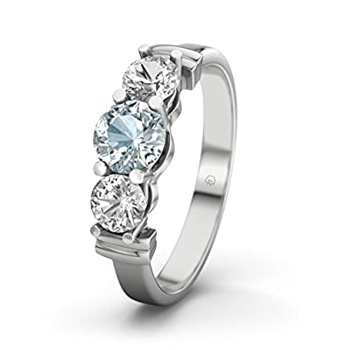 Sabrina 21DIAMONDS Women's Ring Aquamarine Engagement Ring Princess Cut 18ct White Gold Engagement Ring