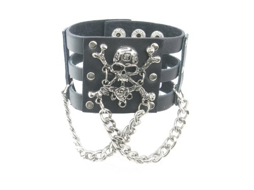 Skull Head Crossbone Rose with Chain Black Leather Heavily Metal Style Wristband Bracelet Cuff Style F