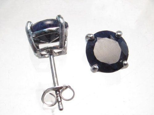 Sterling Silver 8mm Round Sapphire Earrings