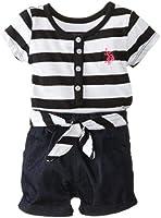 U.S. Polo Assn. Baby Girls' Henley Stripe Knit Top