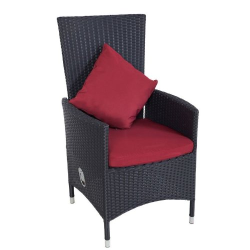 Outflexx Möbel 2-er Set Polyrattan Stuhl verstellbar w1, schwarz günstig