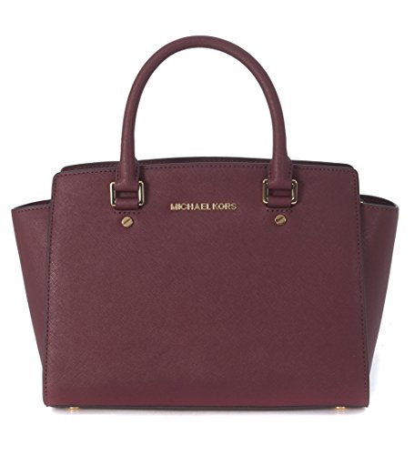 Michael Kors Selma Saffiano Leather Medium, Borsa Tote Donna, Rosso (Plum), Taglia Unica