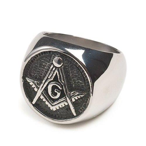 Round Chiseled Stainless Steel Freemason Ring / Masonic Ring With Black Stone & Cz - Freemason'S Jewelry Masonic Rings For Stone Masons / Free Masonry Member. Free Masons Masonary Ring With Masonic Symbol Emblem In Black Enamel! Size: (11)
