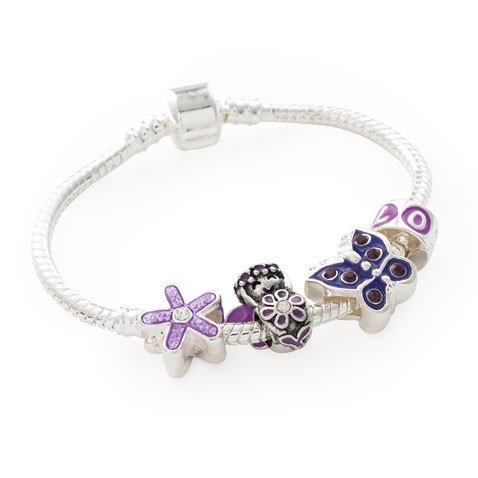 Bling Rocks Childrens 'Purple Fairy' Silver Butterfly Pandora Style Charm/Bead Bracelet. Girls Birthday Gift/Stocking Filler (Other Sizes Available)