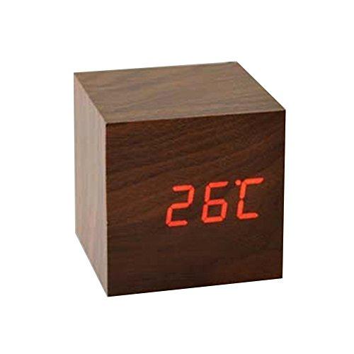 Sungpunet Fashion Triangle LED Wooden Alarm Clock Digital Wood Alarm Clock Desktop- Time Temperature Date – Sound Control