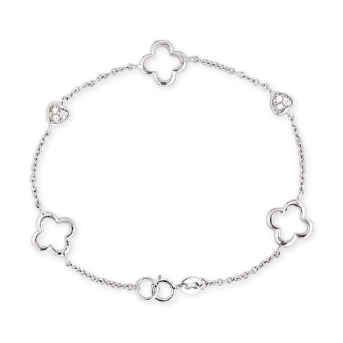 Platinum Plated .925 Sterling Silver Open Clover