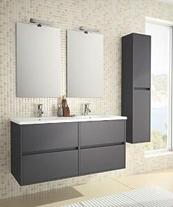 Ensemble meuble salle de bain design double vasque gris plaisancia 120 gris for Amazon meuble salle de bain