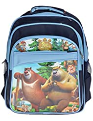 Artisan Crafted Booney Bears Cartoon Character School Bag/ Backpack (Blue/ Navy Blue) For Kids/ Boys/ Girls