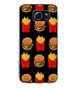 Burger and Fries 2D Hard Polycarbonate Designer Back Case Cover for Samsung Galaxy S6 Edge :: Samsung Galaxy S6 Edge G925 :: Samsung Galaxy S6 Edge G925I G9250 G925A G925F G925FQ G925K G925L G925S G925T