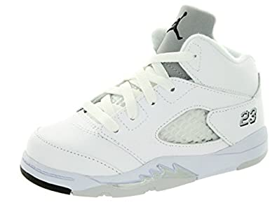 Nike Jordan Toddlers Jordan 5 Retro Bt White/Black/Metallic Silver Basketball Shoe 7 Infants US