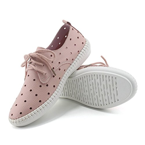 [Colnsky Casual Genuine Leather Mom Nurse Shoes Cut-Outs Breathable Sport Flats Pink5.5 B(M) US New] (Jackie Nurse Shoes)