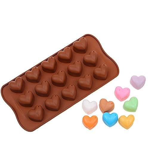 Yunko DIY Silicone Mold Tray 15-cavities Adorable Cute Heart Shape Chocolate Sugar Ice Cake Candy Baking Mold Silicone Mini Cube Craft Fondant Mold Tray Clay Mold Soap Making Mold