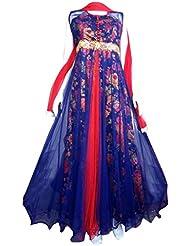 Sancom Women Net Salwar Suit Sets (Sesfsk267017 _Blue & Red _Free Size)