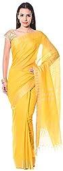 Mahek Women's Silk Saree with Blouse Piece (Yellow)