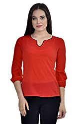 Femninora Red Color Casual Top With Black Neck Piping
