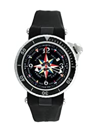 Gio Monaco Men's 370-P01 Poseidon Black Dial Automatic Rubber Compass Watch