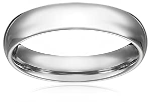Men's 5mm 10k White Gold Comfort Fit Plain Wedding Band Size 8.5