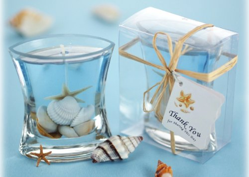 Seashells Gel Candle in Clear Gift Box with Raffia Tie and Thank You Tag (Set of 72) - Wedding Favor