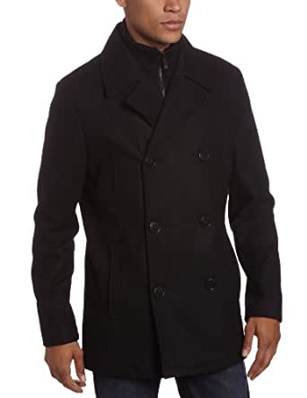 Kenneth Cole Reaction Men's Melton Peacoat With Bib, Navy, Large