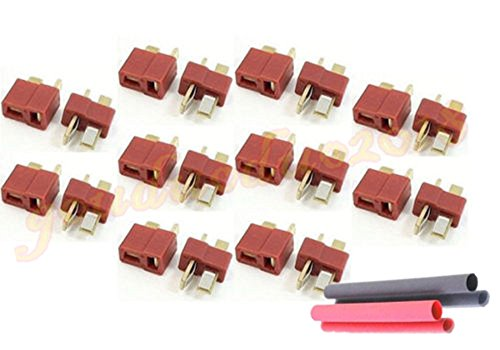 20pcs T- Plug Male & Female Connectors Deans Style For RC LiPo Battery ESC with Heat Shrink Tubing (Deans Connector With Heatshrink compare prices)