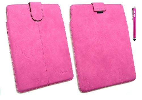 Emartbuy ® Stylus Pack - Hot Pink Stylus + Hot Pink Pu Leder Secured Slide In Pouch / Case / Sleeve / Halter Mit Pull Tab Mechanismus Geeignet Für Samsung Galaxy Tab 2 10,1 Tablet (P5100 / P5110) (10-11 Zoll Tablet)