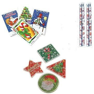 Christmas/ Holiday Theme Party Favor Set / 12 Pencils/12 Mini Notebooks/12 Maze Puzzles